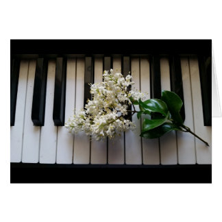 Privet flower and piano keys on greeting card