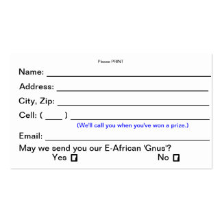 Prize Drawing Entry Cards (Consumer Shows) Double-Sided Standard Business Cards (Pack Of 100)