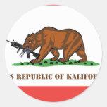 PRK- república popular de Kalifornistan Pegatina Redonda