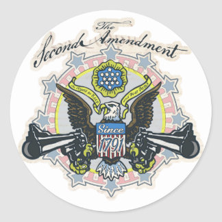 Pro 2nd Amendment Gun-Toting Eagle Gear Classic Round Sticker