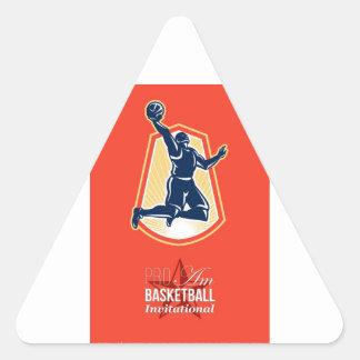 Pro Am Basketball Invitational Retro Poster Triangle Stickers