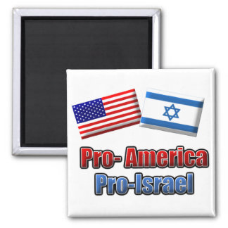 Pro-America/Israel 2 Inch Square Magnet