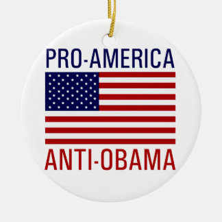 PRO-AMERICAN ANTI-OBAMA Double-Sided CERAMIC ROUND CHRISTMAS ORNAMENT