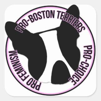 Pro Boston Terriers Pro Feminism Pro Choice Square Stickers