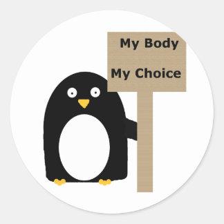 Pro-Choice Penguin (My Body My Choice) Classic Round Sticker