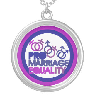 Pro gay marriage silver plated necklace