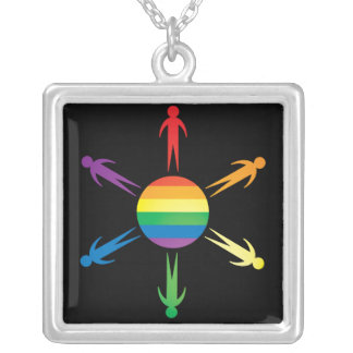 PRO GAY RIGHTS DESIGN   STERLING NECKLACE