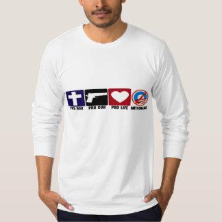 Pro God, Gun, Life, Anti Obama Bumper Stickers Tee Shirt