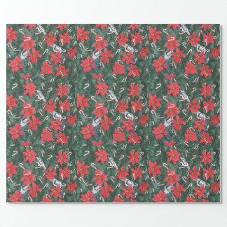 Pro Gun Christmas Poinsettias Wrapping Paper