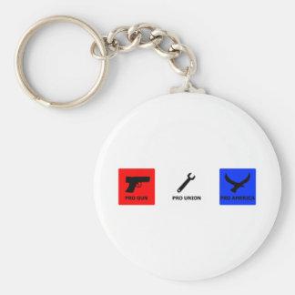 Pro gun, pro union basic round button keychain