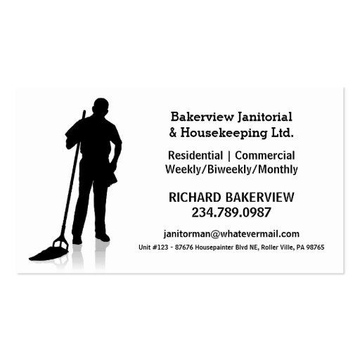 Housekeeping business card templates page3 bizcardstudio pro janitorial or housekeeping cleaning service business card reheart Images