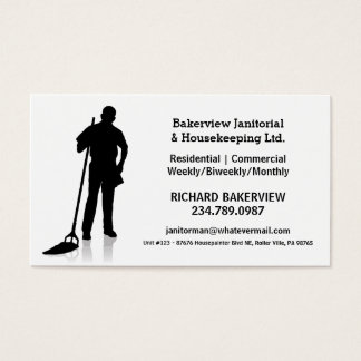 Pro Janitorial or Housekeeping Cleaning Service Business Card