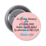 Pro Life, Abortion Statistics Buttons