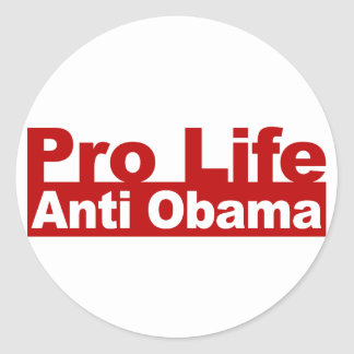 Pro Life Anti Obama Classic Round Sticker