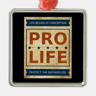Pro Life Billboard Square Metal Christmas Ornament