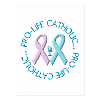Pro-Life Catholic w/Monstrance & Pink/Blue Ribbons Postcard