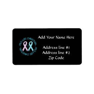 Pro-Life Christian w/Cross & Pink/Blue Ribbons Custom Address Label