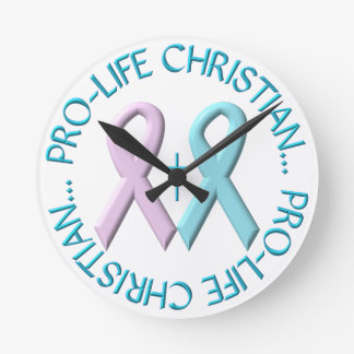 Pro-Life Christian w/Cross & Pink/Blue Ribbons Round Clock