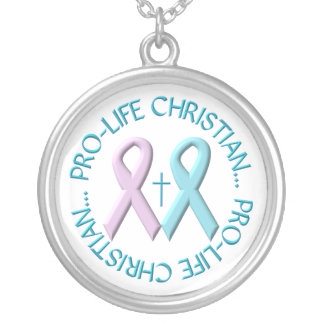 Pro-Life Christian w/Cross & Pink/Blue Ribbons Silver Plated Necklace