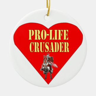 PRO LIFE CRUSADER Double-Sided CERAMIC ROUND CHRISTMAS ORNAMENT