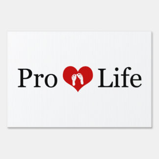 Pro-Life Heart and Baby Feet (White) Yard Sign