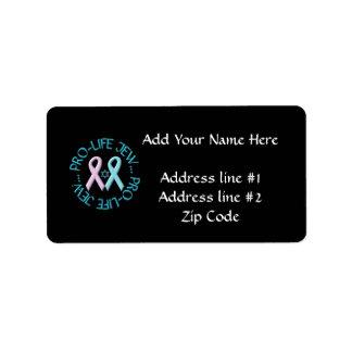 """""""Pro-Life Jew"""" w/Star of David & Ribbons Custom Address Label"""