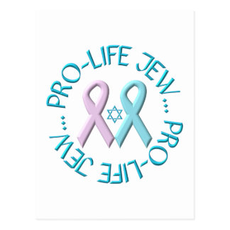 """""""Pro-Life Jew"""" w/Star of David & Ribbons Postcard"""