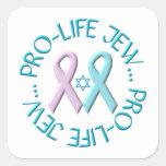 """""""Pro-Life Jew"""" w/Star of David & Ribbons Square Sticker"""