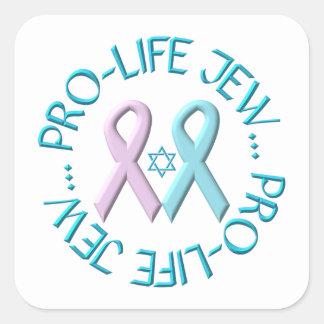 """Pro-Life Jew"" w/Star of David & Ribbons Square Stickers"