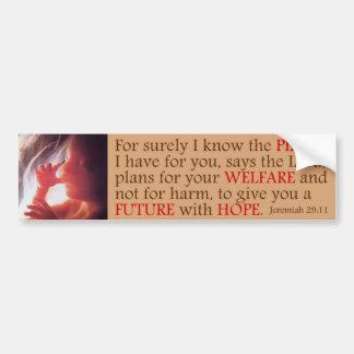 Pro Life Message - Jeremiah 29:11 Bumper Sticker