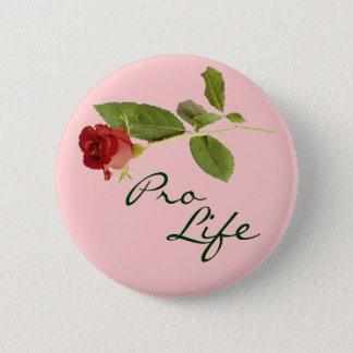 Pro-Life on Pink Floral Pinback Button