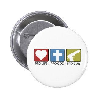 Pro Life, Pro God, Pro Gun 2 Inch Round Button