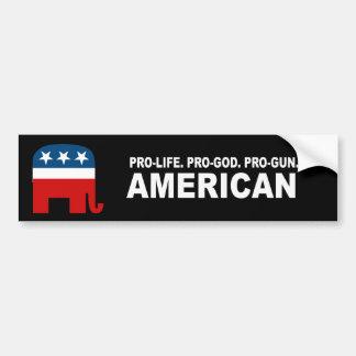 Pro-life Pro-God Pro-Gun American Bumper Sticker