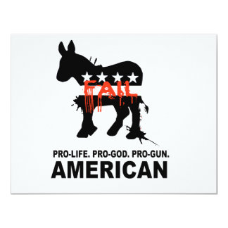 "Pro-life. Pro-God. Pro-Gun American 4.25"" X 5.5"" Invitation Card"