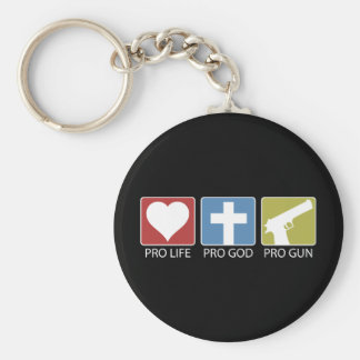Pro Life, Pro God, Pro Gun Basic Round Button Keychain