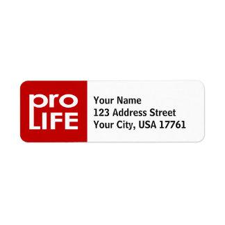 Pro Life Return Address Labels