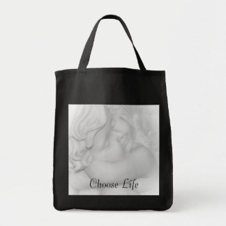 Pro-life sleeping cherub baby canvas bag