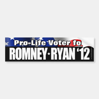 Pro-Life Voter For Romney/Ryan Bumper Sticker