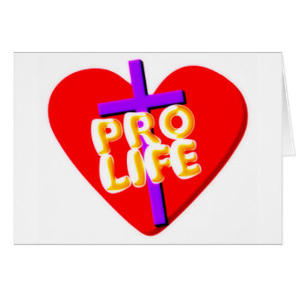 Pro Life with Christian heart design Card