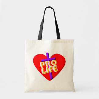 Pro Life with Christian heart design Tote Bag