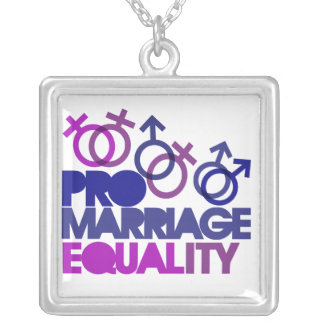 Pro marriage equality square pendant necklace