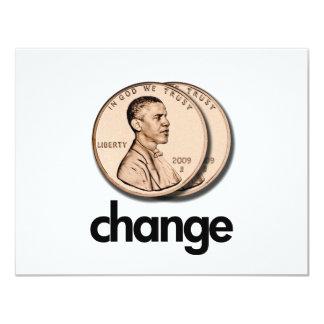 "PRO OBAMA CHANGE 4.25"" X 5.5"" INVITATION CARD"