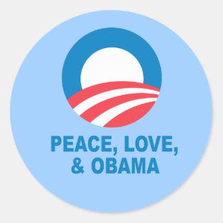 Pro-Obama - PEACE, LOVE, AND OBAMA Stickers