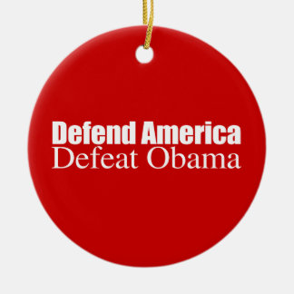PRO-ROMNEY - DEFEND AMERICA DEFEAT OBAMA -- .png Double-Sided Ceramic Round Christmas Ornament