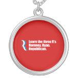 PRO-ROMNEY - LEARN THE THREE R'S - ROMNEY RYAN REP ROUND PENDANT NECKLACE