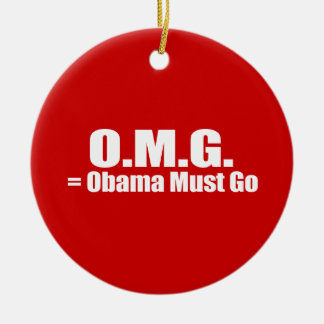 PRO-ROMNEY - OBAMA MUST GO -- .png Double-Sided Ceramic Round Christmas Ornament