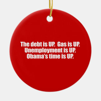 PRO-ROMNEY - OBAMA'S TIME IS UP -- .png Double-Sided Ceramic Round Christmas Ornament