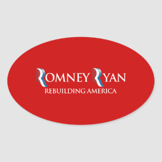PRO-ROMNEY - REBUILDING AMERICA -- .png Oval Stickers