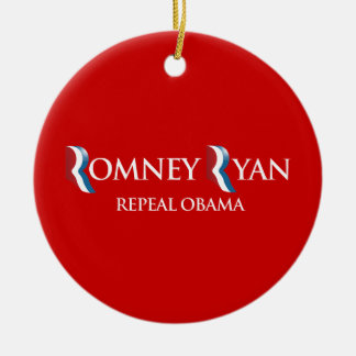 PRO-ROMNEY - REPEAL OBAMA -- .png Double-Sided Ceramic Round Christmas Ornament
