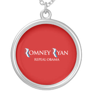 PRO-ROMNEY - REPEAL OBAMA -- .png Round Pendant Necklace